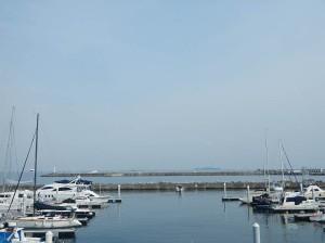 ヨットが停泊する港の先に見える堤防から花火が打ちあがります。さらにその向こうには、春霞にぼぅっと見えるのは初島。